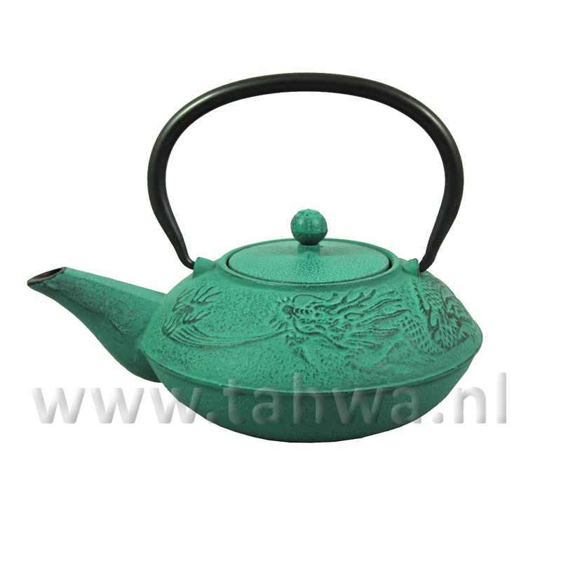 Japanese cast iron teapot green dragon - Cast iron teapot dragon ...